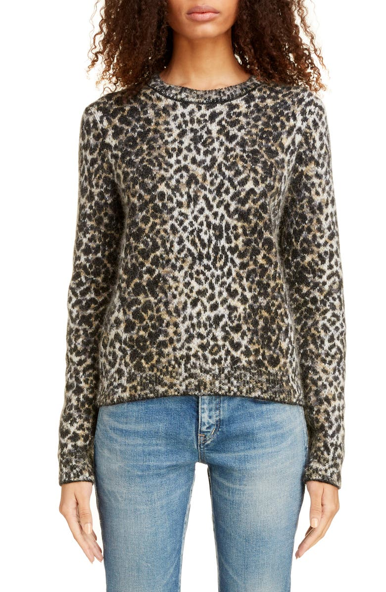 SAINT LAURENT Leopard Jacquard Sweater, Main, color, BEIGE/ NOIR/ MARRON
