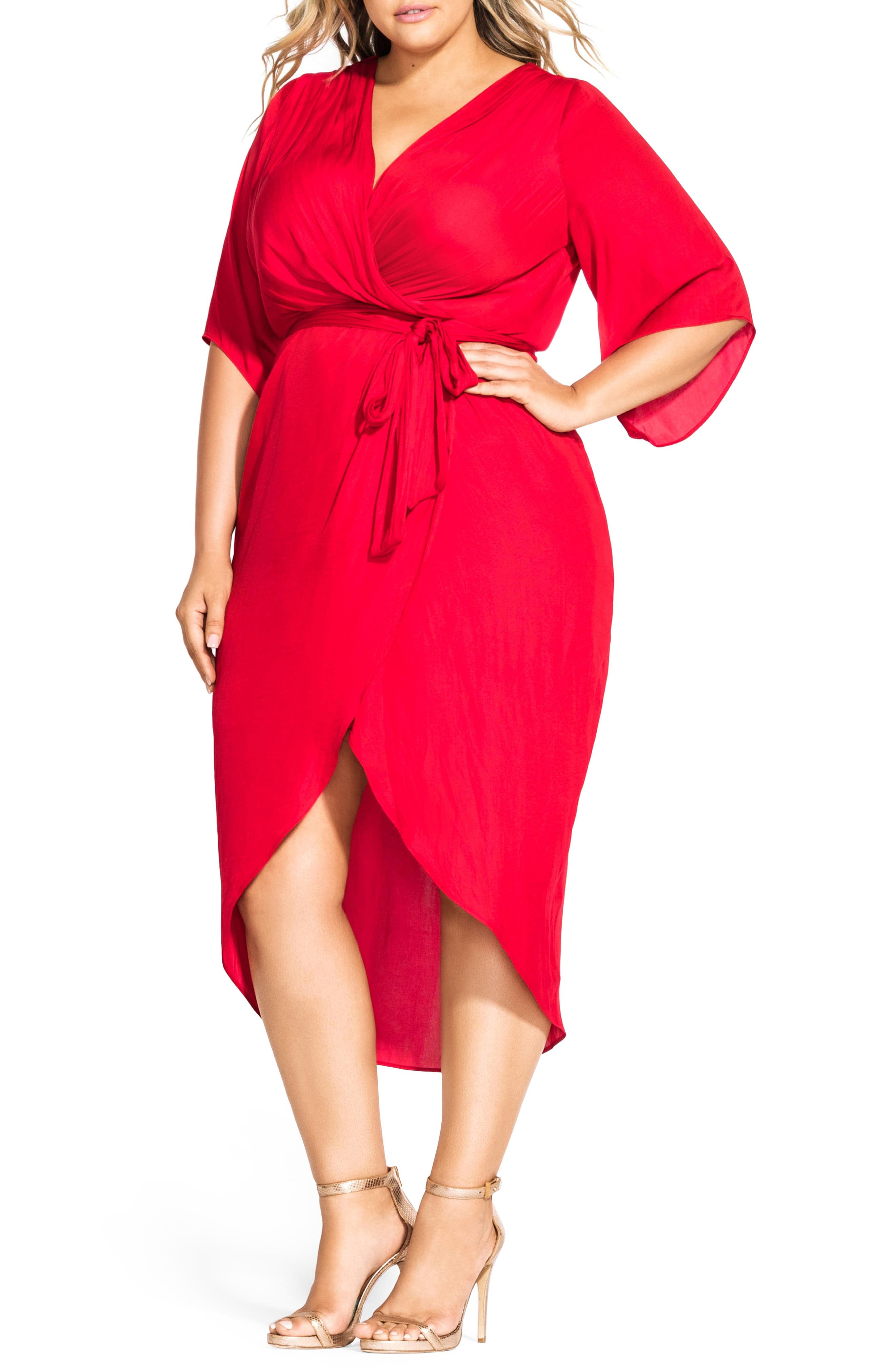Plus Size City Chic Opulent Hammered Satin Wrap Style Dress, Red
