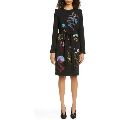 Stella Mccartney Floral Embroidered Long Sleeve Stretch Cady Dress, US / 40 IT - Black