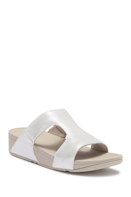 Image of Fitflop H-Bar Shimmer Lizard-Embossed Wedge Sandal