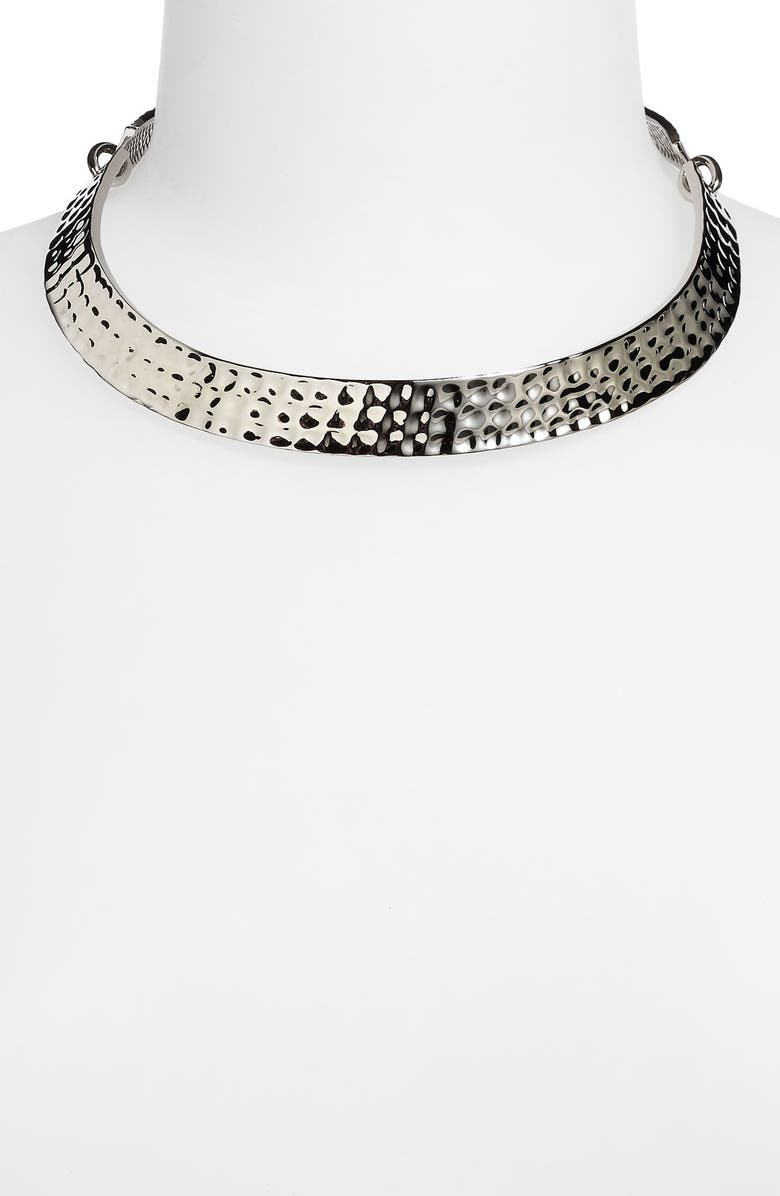 ST. JOHN COLLECTION Hammered Narrow Collar Necklace, Main, color, 710