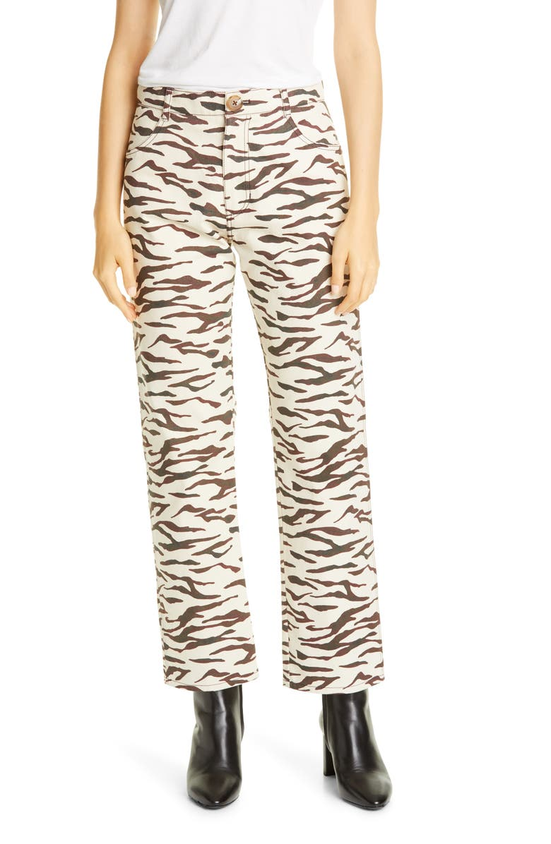 REJINA PYO Sofia Tiger Stripe Ankle Straight Leg Jeans, Main, color, TIGER IVORY