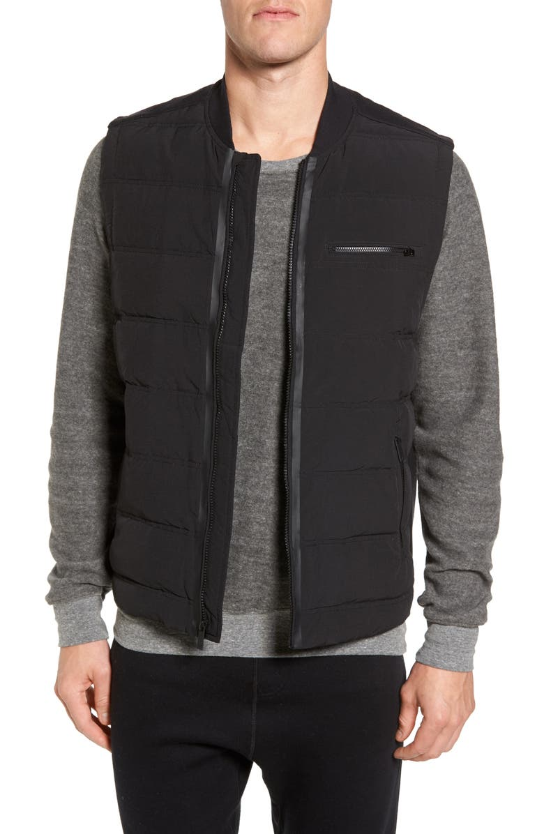 ALO Mantra Relaxed Down Vest, Main, color, BLACK