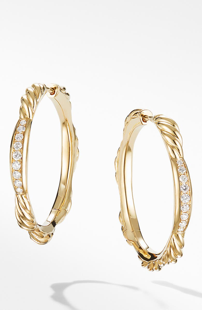 DAVID YURMAN Tides Hoop Earrings in 18K Yellow Gold with Diamonds, Main, color, GOLD/ DIAMOND