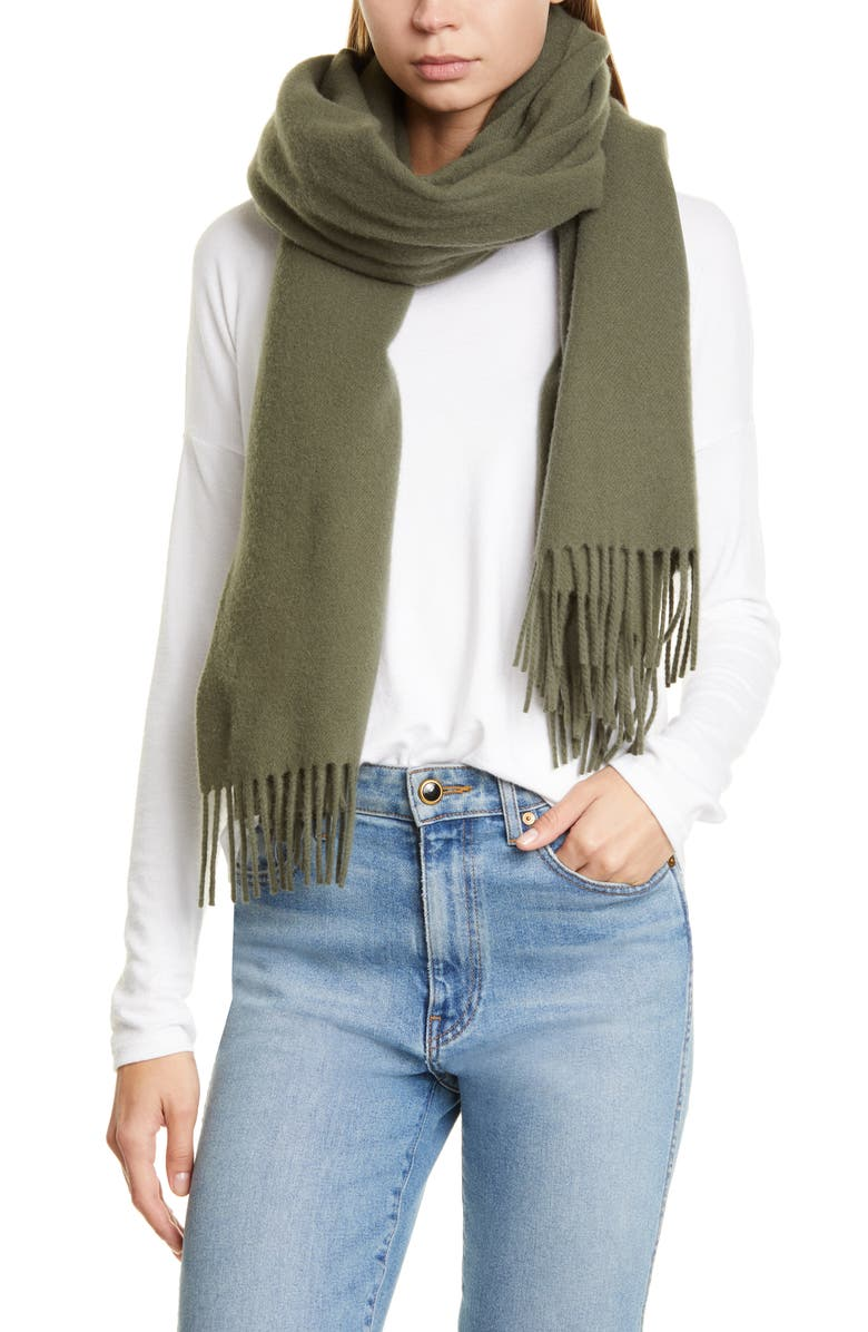 RAG & BONE Classic Wool Scarf, Main, color, ARMY GREEN