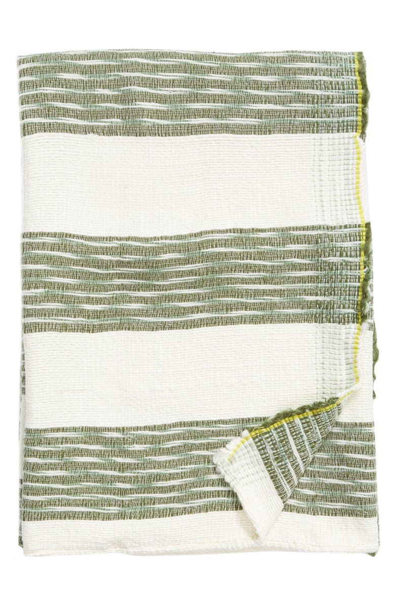 TREASURE & BOND Space Dye Woven Throw Blanket, Main, color, GREEN SORREL MULTI