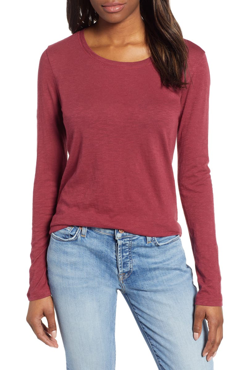 CASLON<SUP>®</SUP> Long Sleeve Crewneck Tee, Main, color, RED CORDOVAN