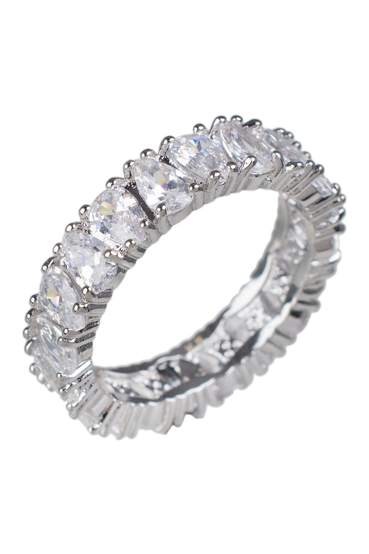 Image of CZ By Kenneth Jay Lane Rhodium Plated Alternating Pear Cut CZ Band Ring