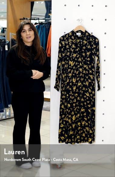 Floral Print Crepe Long Sleeve Midi Dress, sales video thumbnail