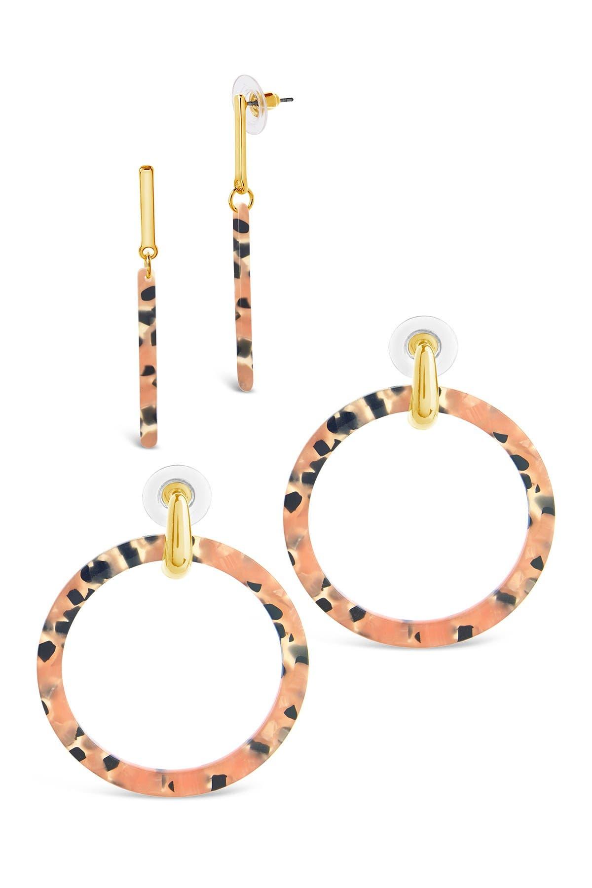 Image of Sterling Forever Pinks Sands Resin Earrings - Set of 2