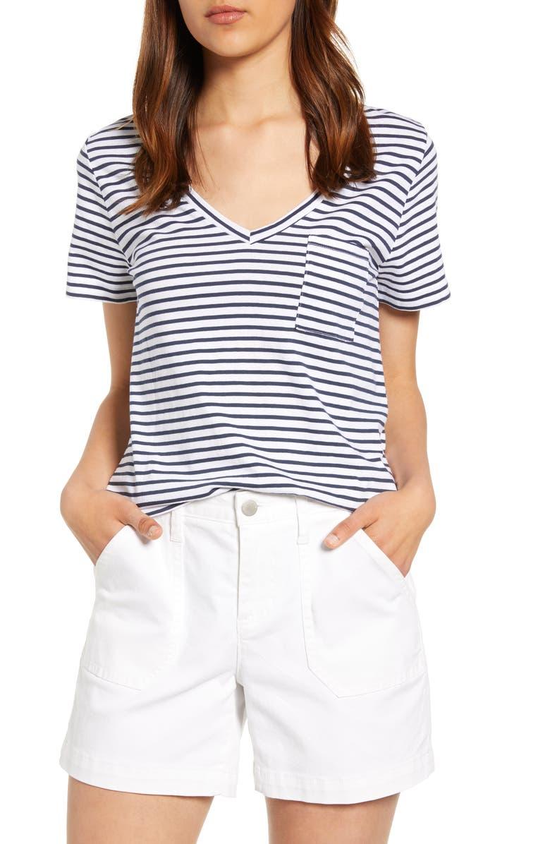 LUCKY BRAND Stripe Cotton Pocket Tee, Main, color, NAVY STRIPE