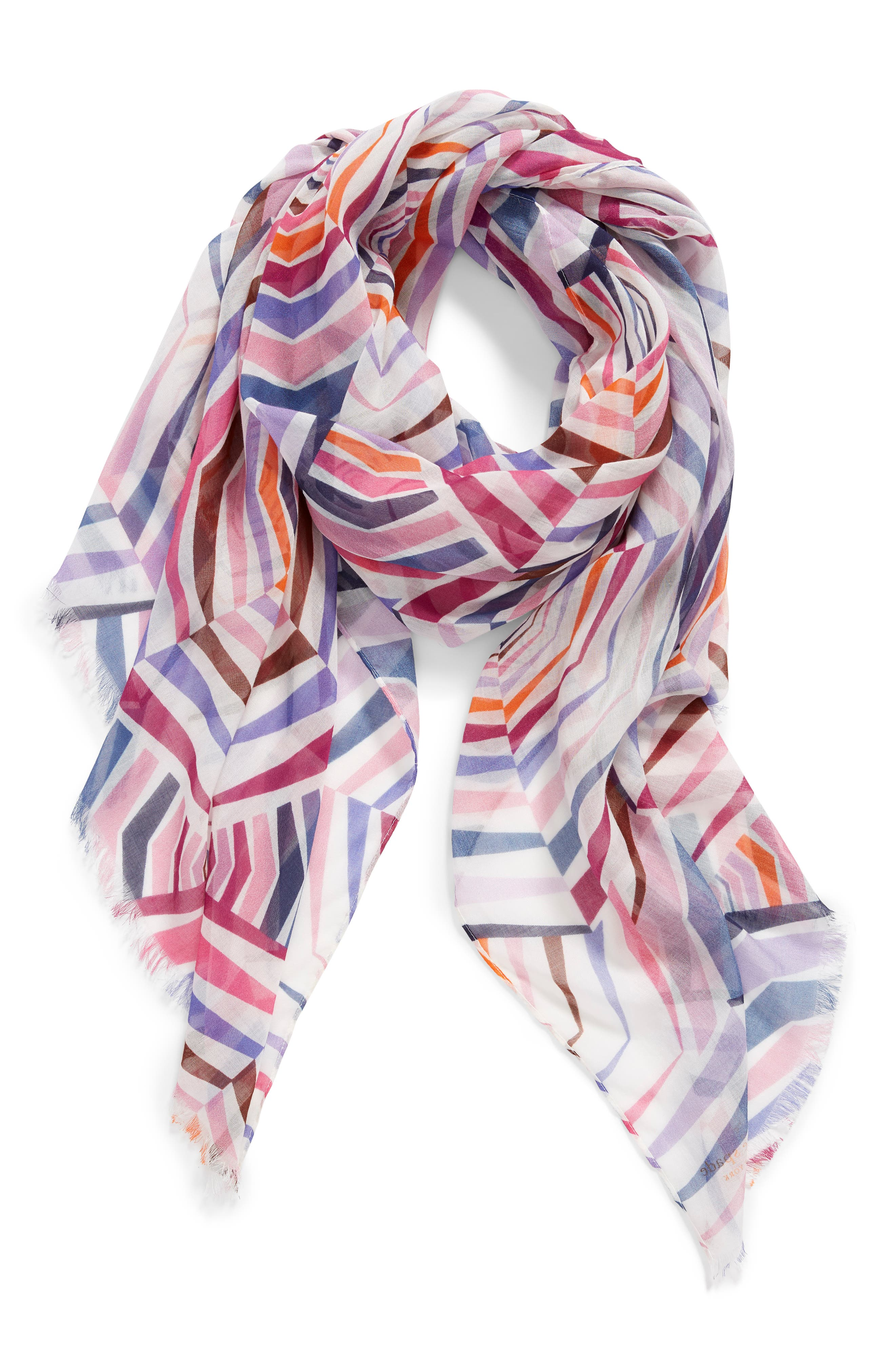 ,                             geobrella print fringe scarf,                             Alternate thumbnail 2, color,                             FRENCH CREAM