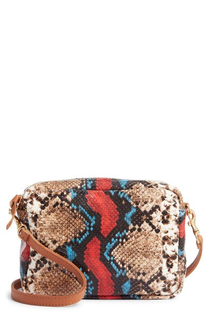 Clare V Midi Sac Snakeskin Embossed Goatskin Leather Crossbody Bag In Garden Snake