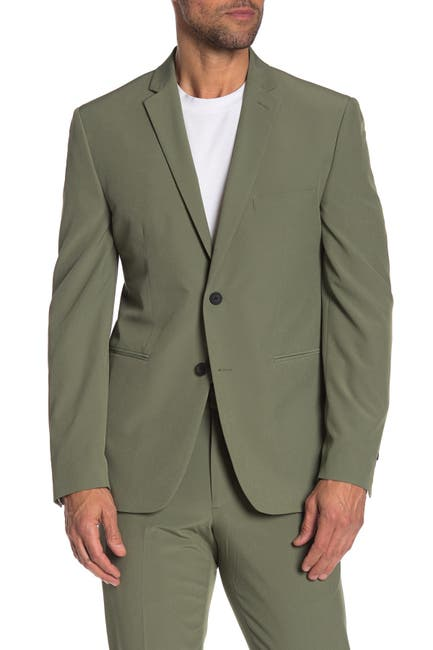 Image of Perry Ellis Green Solid Two Button Notch Lapel Very Slim Fit Performance Tech Suit Separates Jacket