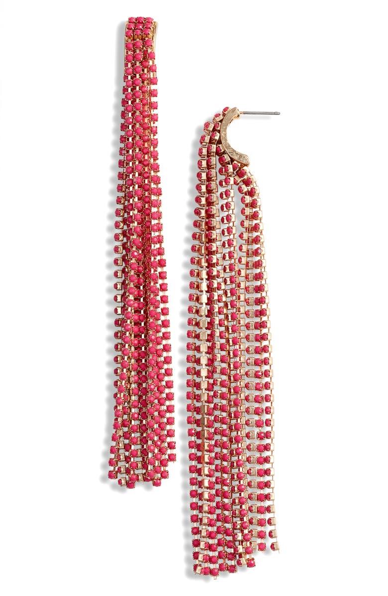 STELLA + RUBY Mia Tassel Earrings, Main, color, GOLD/ HOT PINK