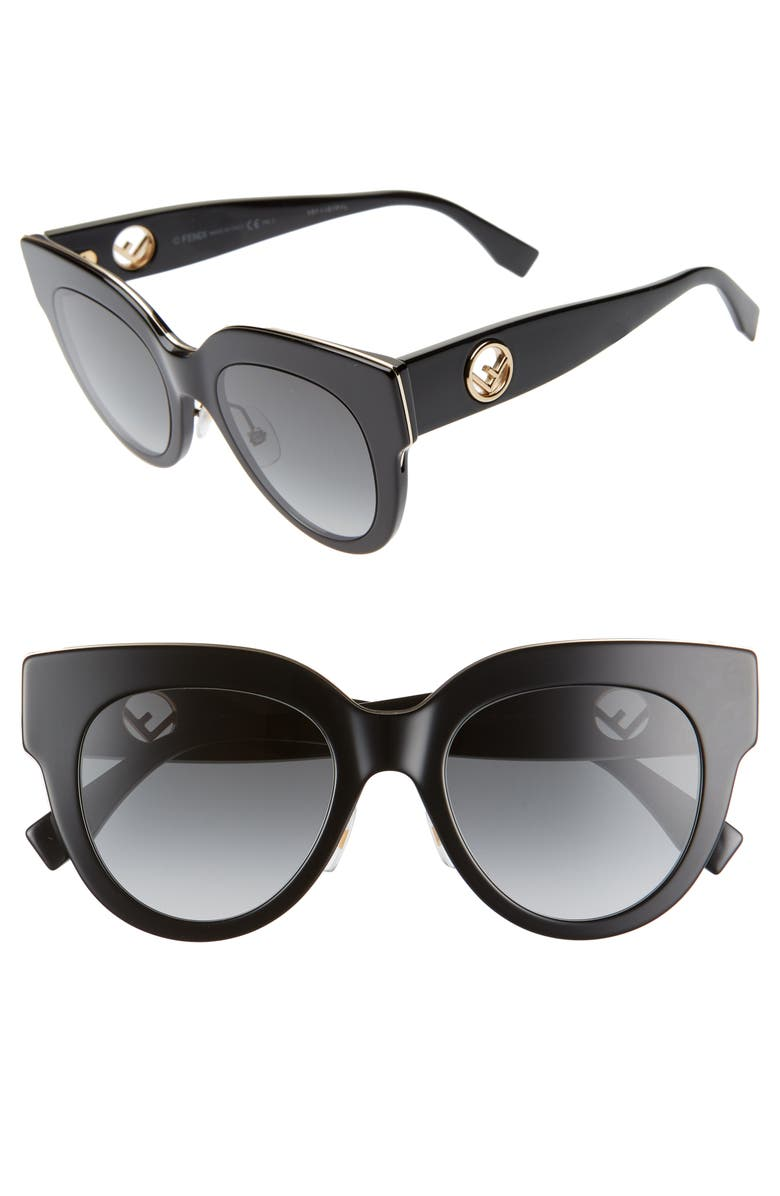 FENDI 51mm Sunglasses, Main, color, 001