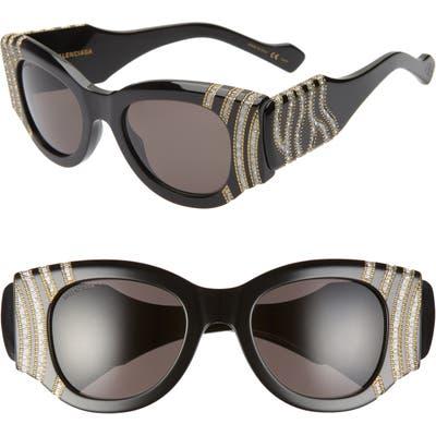 Balenciaga 50mm Cat Eye Sunglasses - Shiny Black/ Silver/ Grey