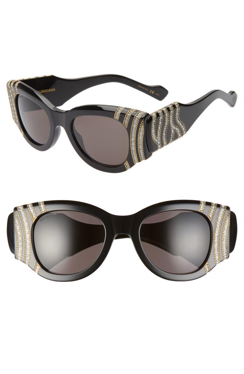 BALENCIAGA 50mm Cat Eye Sunglasses, Main, color, 005