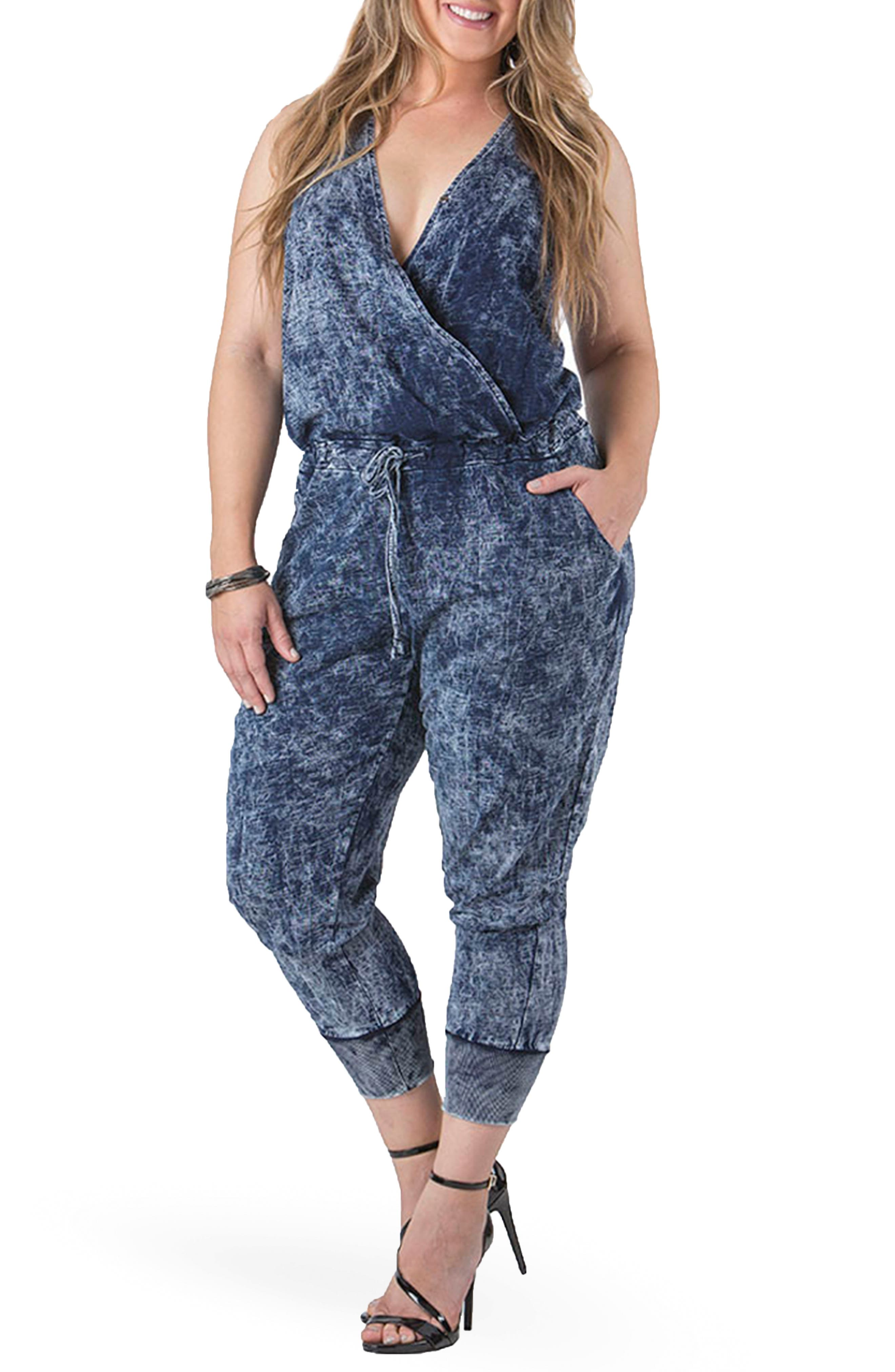 Image of Standards & Practices Estelle Surplice Crop Jumpsuit