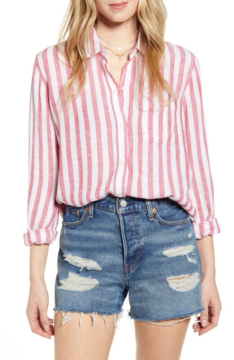 RAILS Charli Shirt, Main, color, CARMINE STRIPE