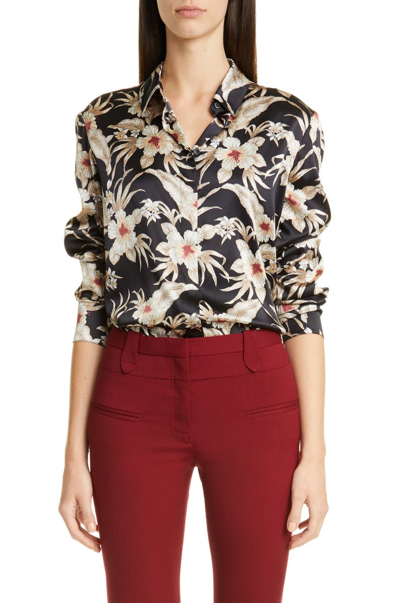 ALTUZARRA Floral Print Silk Shirt, Main, color, OYSTER