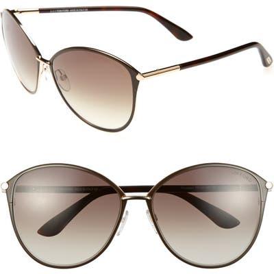 Tom Ford Penelope 5m Gradient Cat Eye Sunglasses - Shiny Rose Gold/ Dark Brown