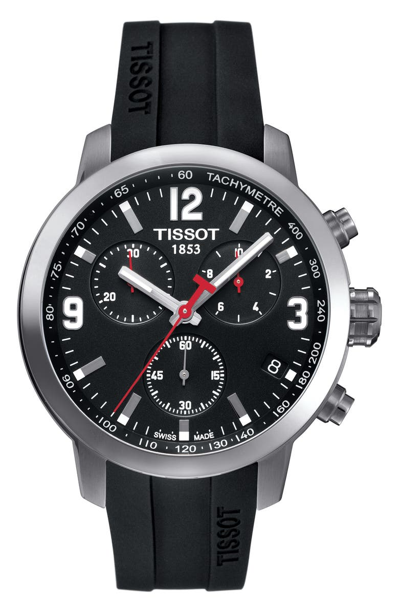 Tissot PRC200 Chronograph Silicone Strap Watch 41mm