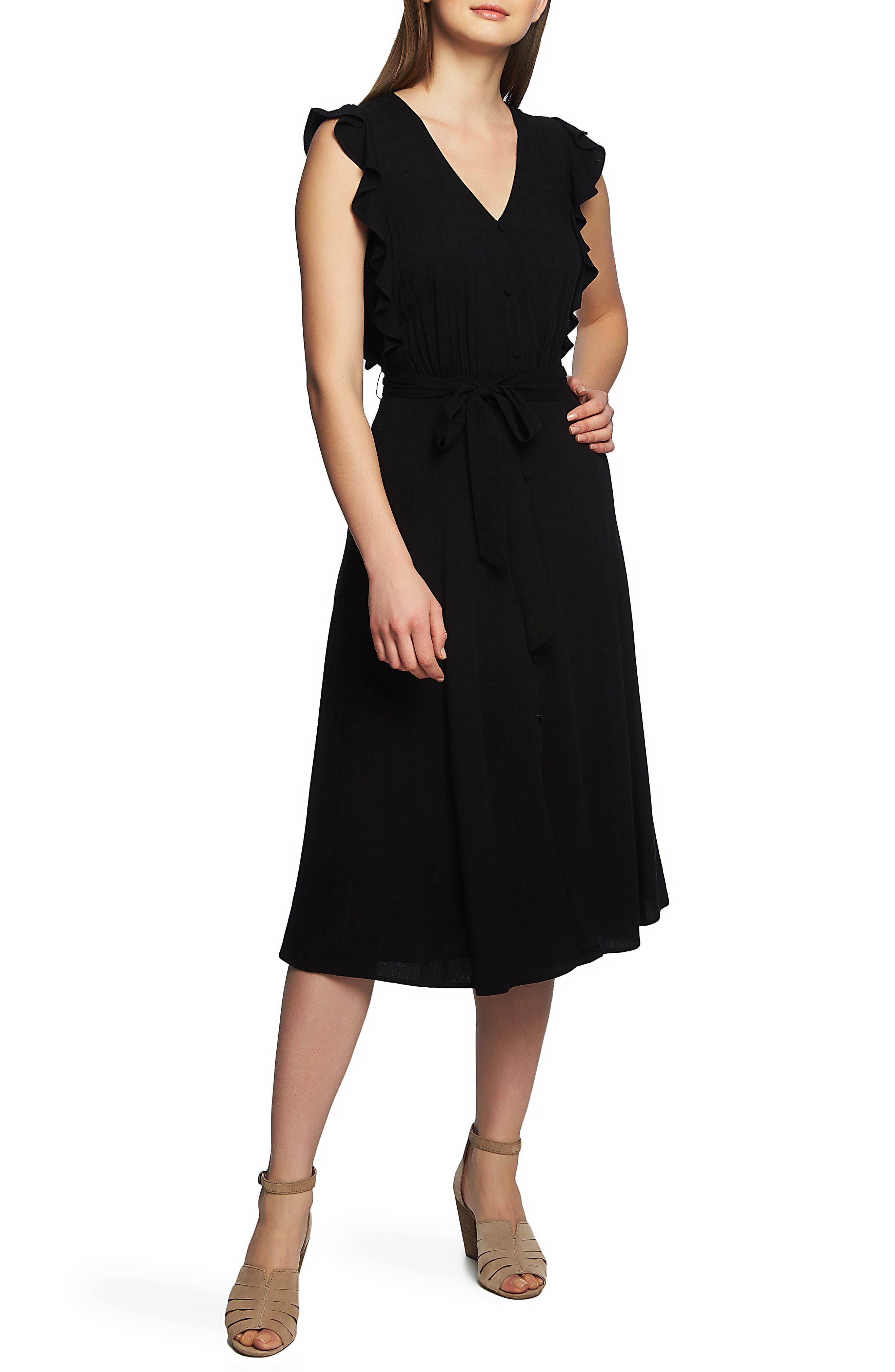 1.state Ruffle Tie Waist Midi Dress, Black