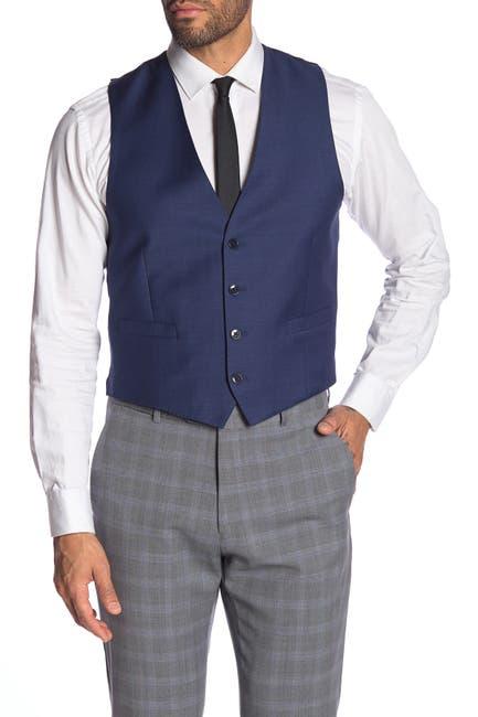 Image of Calvin Klein Blue Twill Slim Fit Wool Suit Separate Vest
