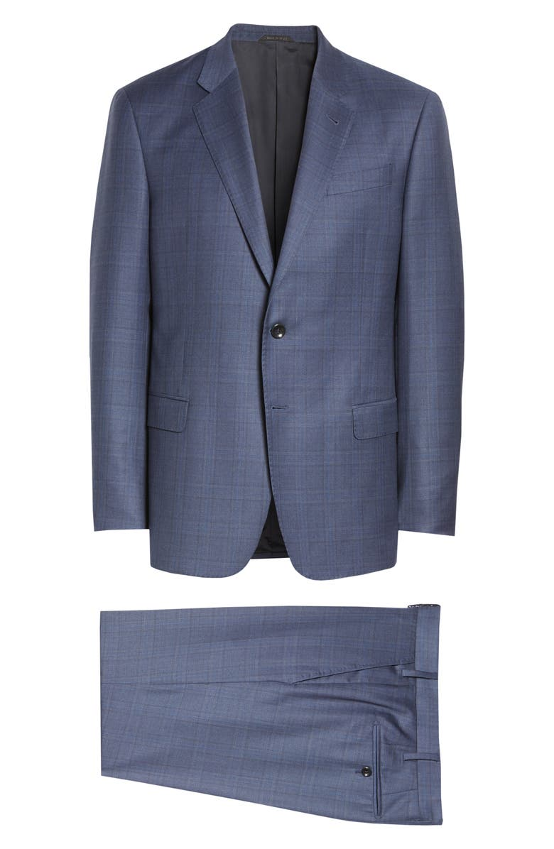 GIORGIO ARMANI Trim Fit Plaid Wool Suit, Main, color, BLUE