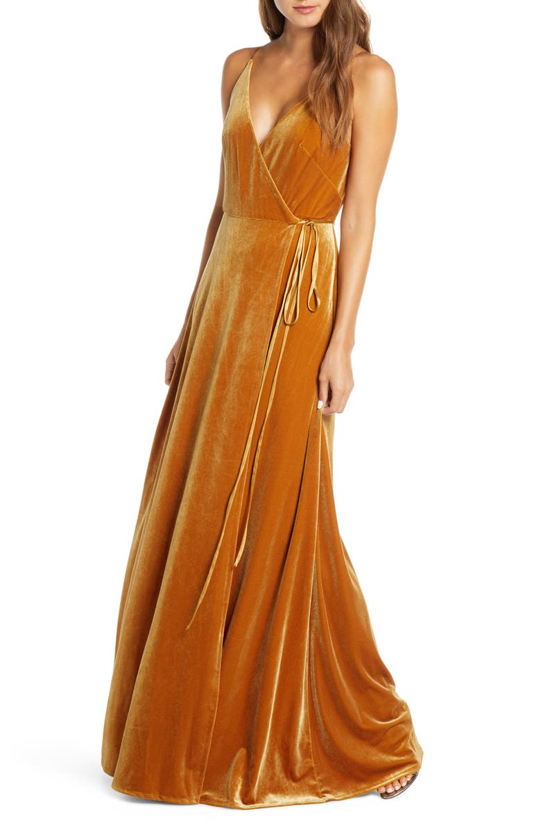 JENNY YOO Andi Velvet Wrap Evening Gown, Main, color, 700
