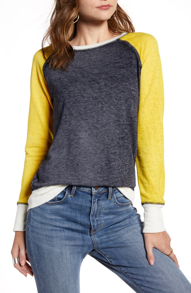 TREASURE & BOND Colorblock Crewneck Sweatshirt, Main, color, NAVY NIGHT- YELLOW COMBO