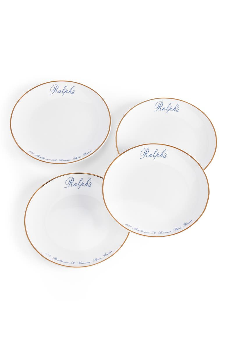 RALPH LAUREN Paris Set of 4 Canapé Plates, Main, color, WHITE