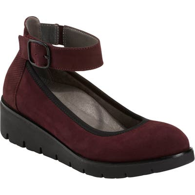 Earth Zurich Sion Ankle Strap Wedge- Burgundy