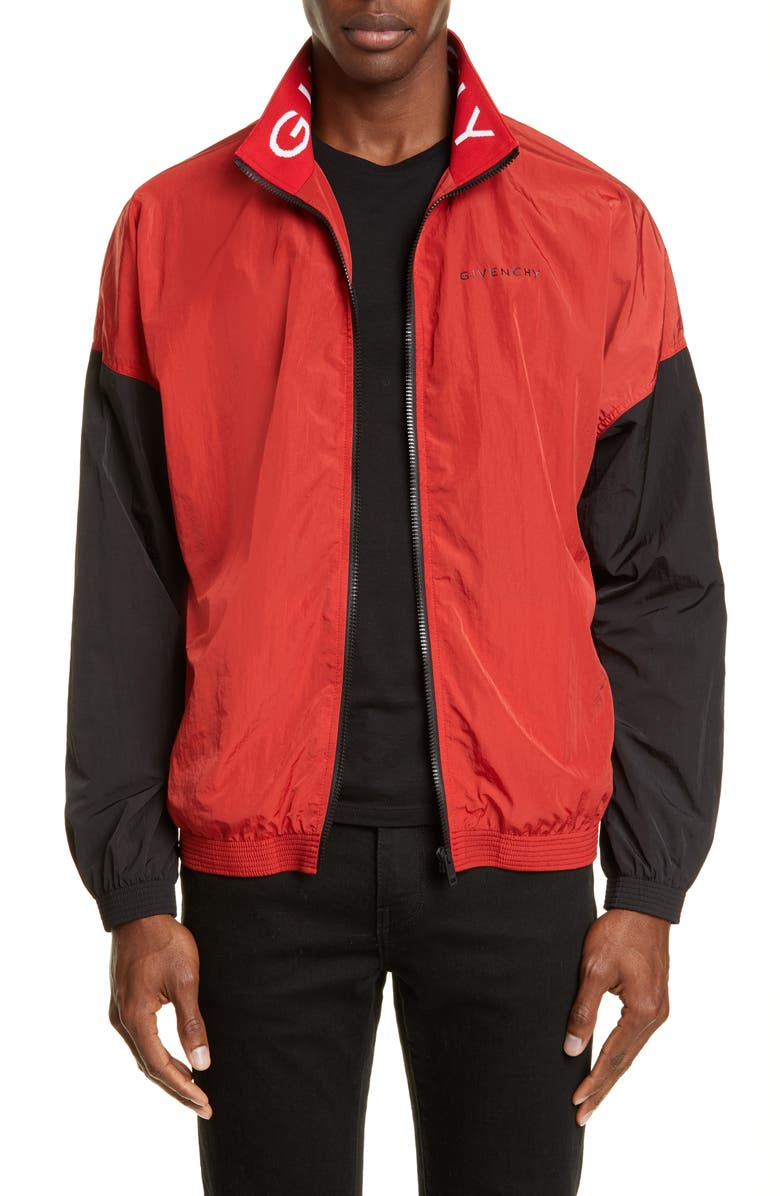 GIVENCHY Oversize Colorblock Nylon Track Jacket, Main, color, RED