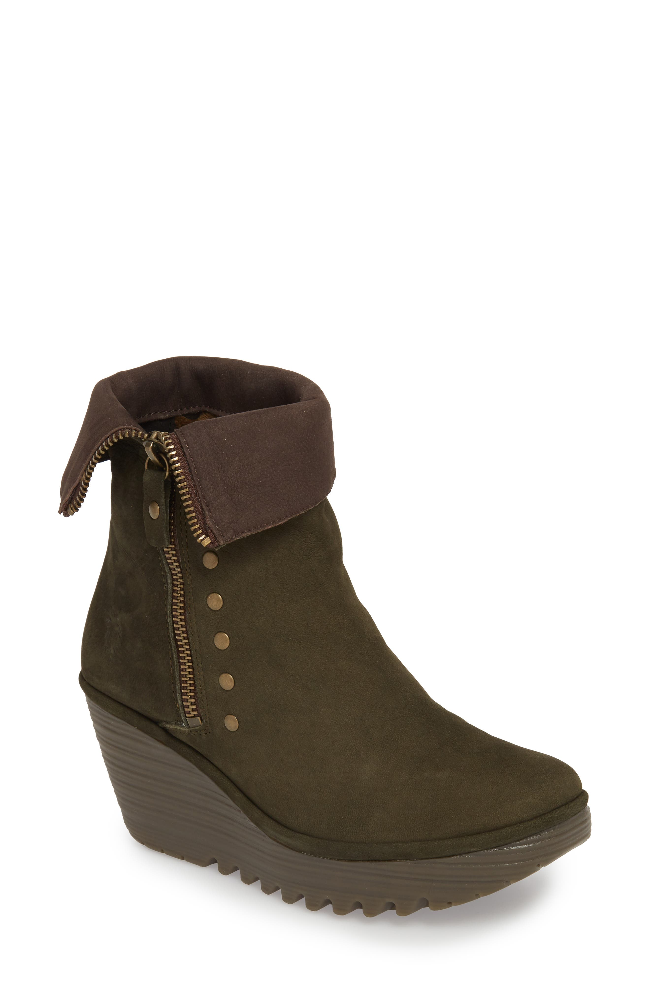 Fly London Yemi Wedge Bootie - Green