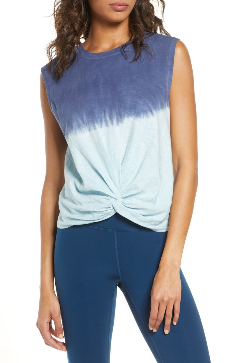 ZELLA Twist Around Dip Dye Tank Top, Main, color, BLUE REEF