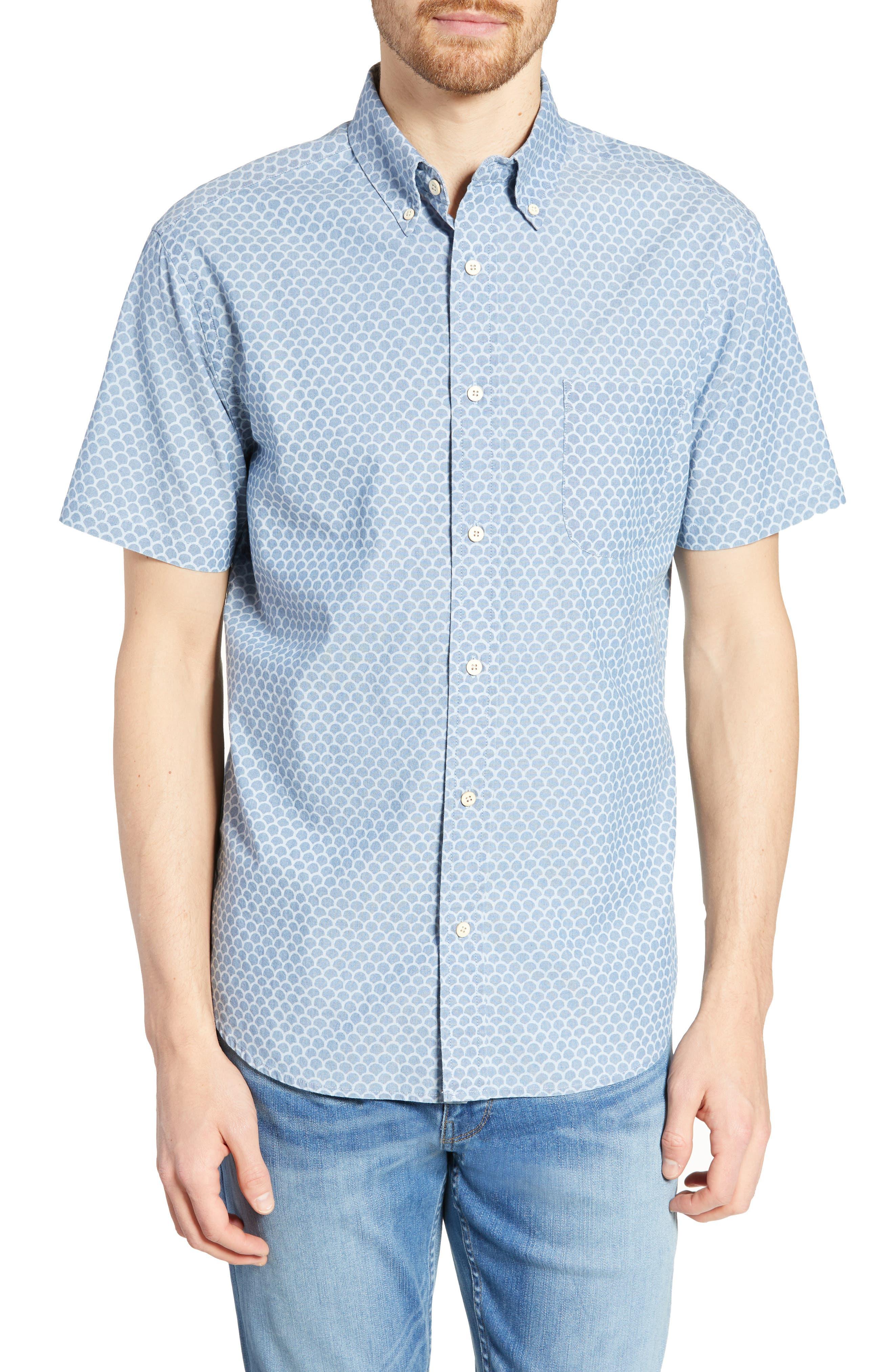 Faherty Pacific Regular Fit Fishscale Print Cotton Sport Shirt, Blue