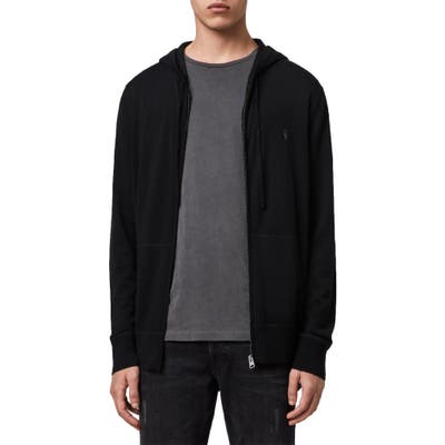 Allsaints Mode Slim Fit Merino Wool Zip Hoodie, Black
