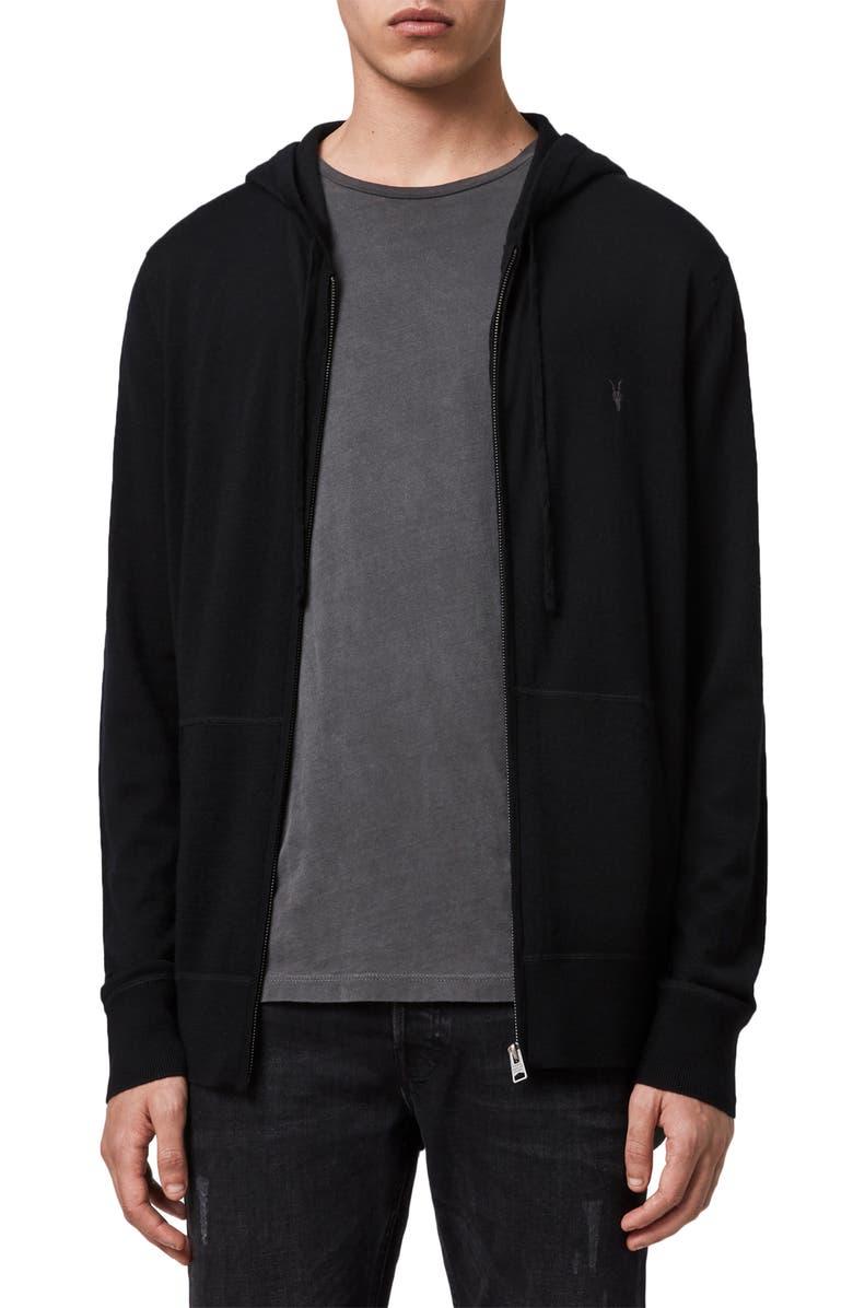 ALLSAINTS Mode Slim Fit Merino Wool Zip Hoodie, Main, color, BLACK