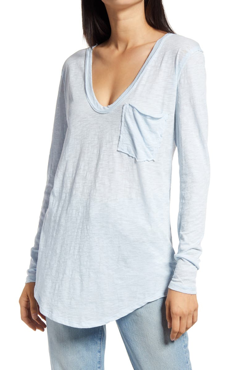 FREE PEOPLE Betty Long Sleeve Top, Main, color, SKY