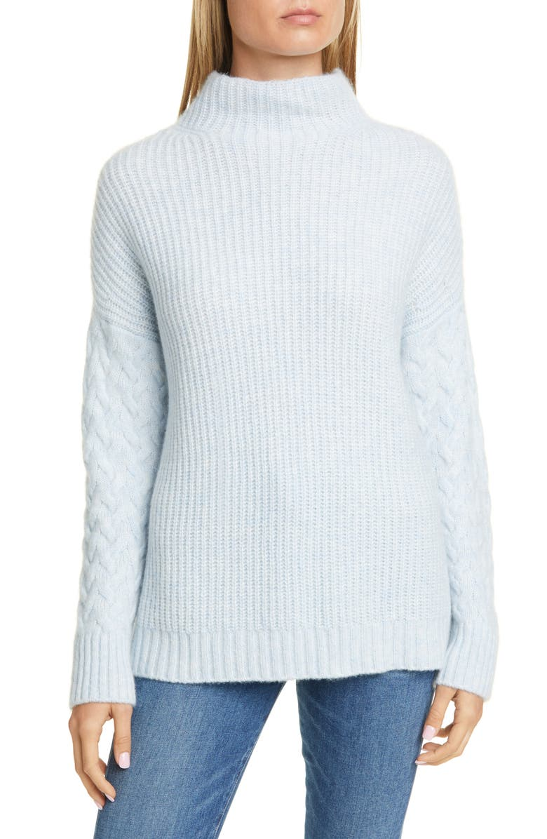 NORDSTROM SIGNATURE Mix Stitch Funnel Neck Cashmere & Silk Sweater, Main, color, BLUE KENTUCKY