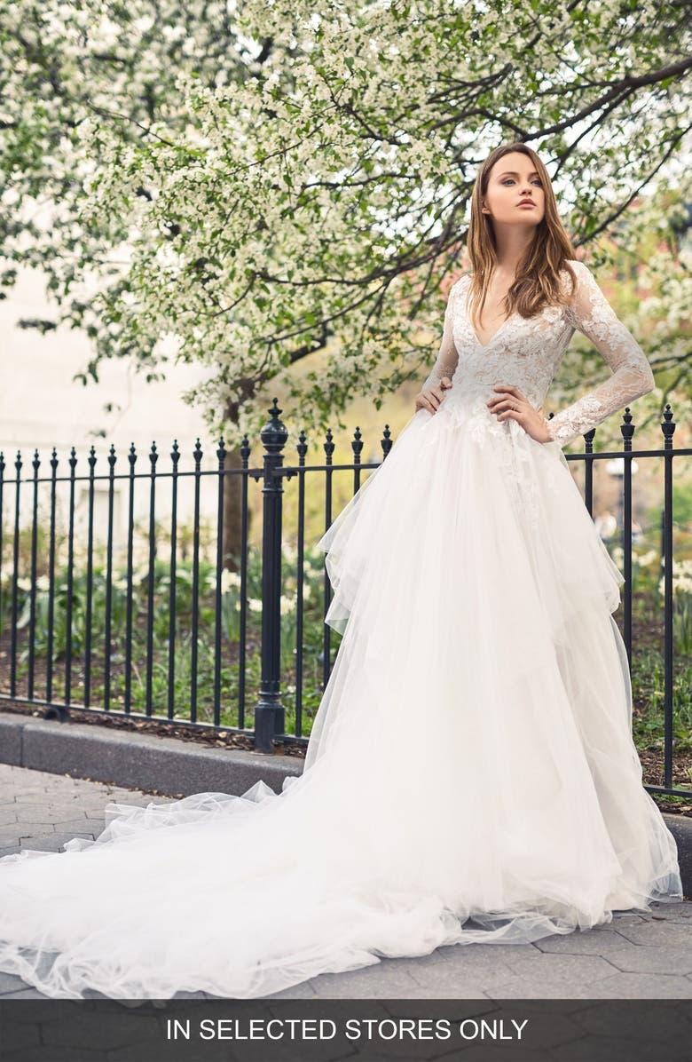BLISS MONIQUE LHUILLIER Deep V Lace & Tulle Gown, Main, color, SILK WHITE/LATTE