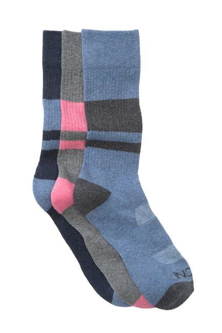 Image of BOCONI Heather Sport Stripe Crew Socks - Pack of 3