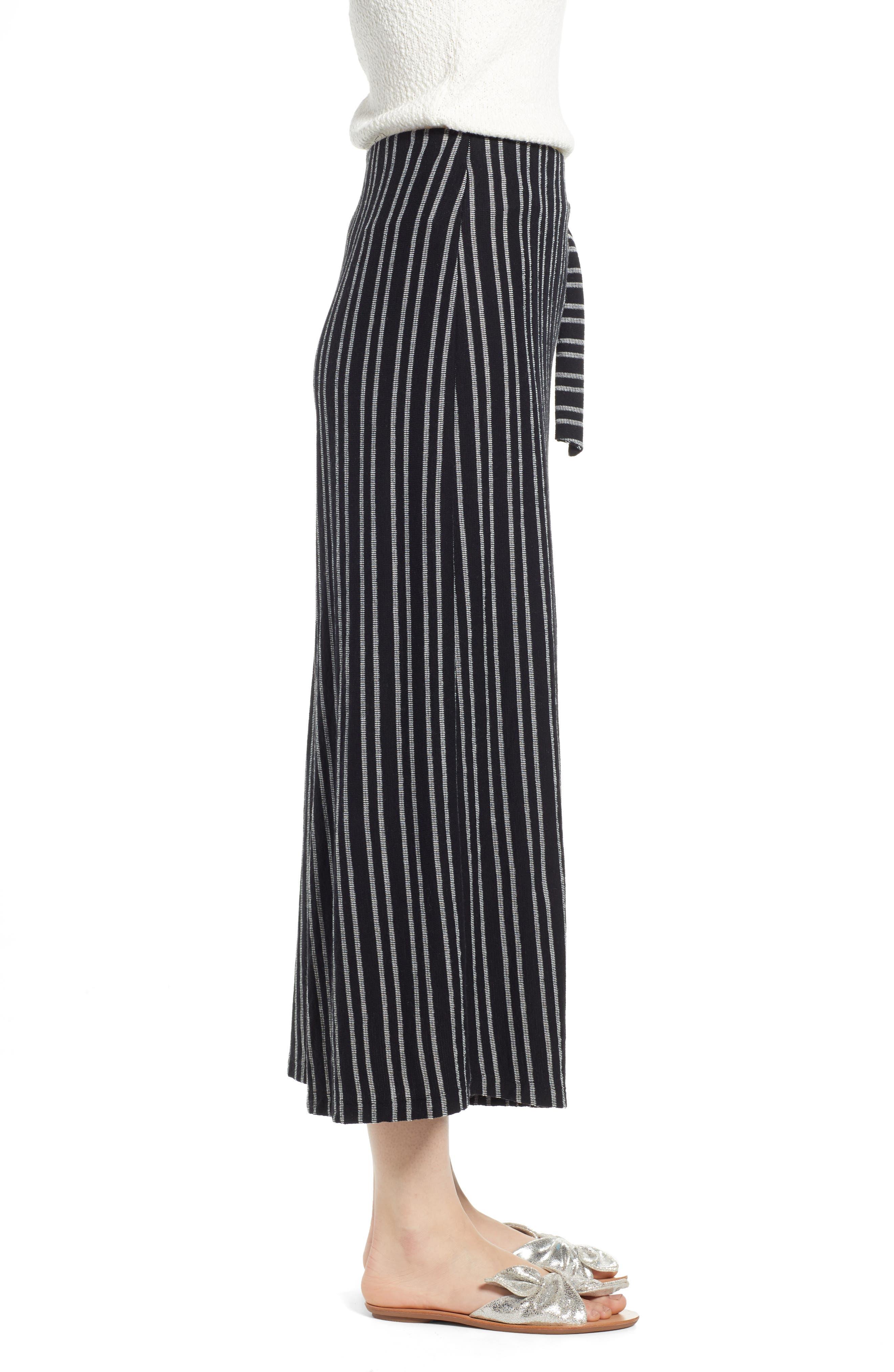 ,                             Tie Waist Stripe Wide Leg Crop Pants,                             Alternate thumbnail 4, color,                             BLACK WHITE STRIPE