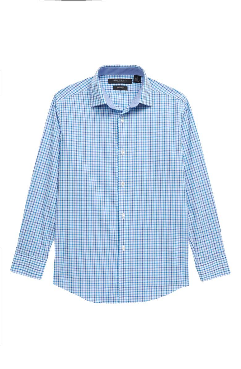 ANDREW MARC Gingham Dress Shirt, Main, color, BLUE CHECKS
