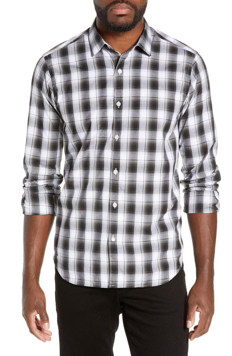 JEFF Fox Valley Slim Fit Plaid Shirt, Main, color, 001