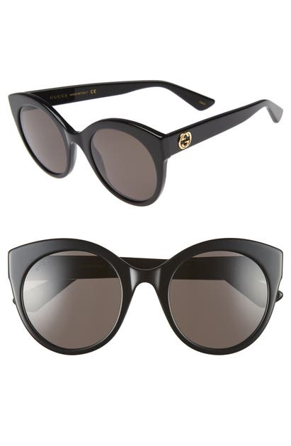 Gucci 52Mm Cat Eye Sunglasses - Black/ Grey