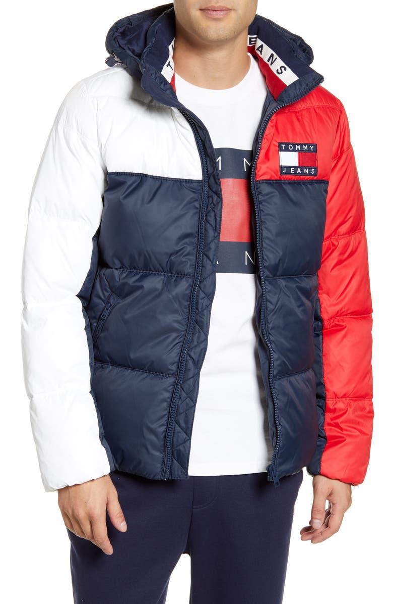 TOMMY JEANS TJM Essential Hooded Puffer Jacket, Main, color, BLACK IRIS / MULTI