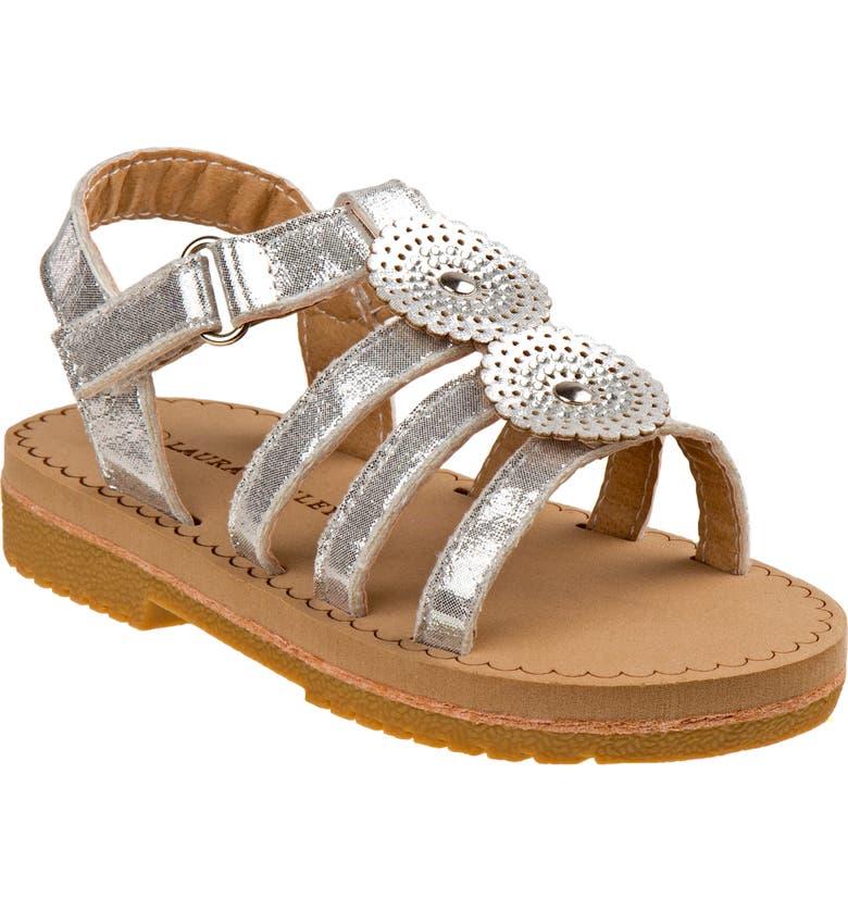 LAURA ASHLEY Cutout Sandal, Main, color, SILVER